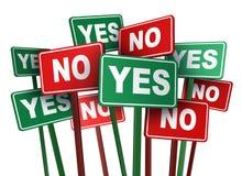 Votación sí o no Imagen de archivo libre de regalías