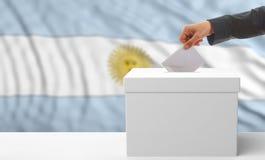 Votante en un fondo de la bandera de la Argentina ilustración 3D Imagen de archivo libre de regalías