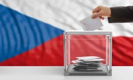 Votante en un fondo de la bandera de la República Checa ilustración 3D stock de ilustración