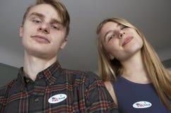 Votantes de la primera vez de los jóvenes Imagen de archivo libre de regalías