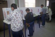 Votantes y cabinas de votación en un colegio electoral Imagen de archivo libre de regalías