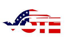 Vote. The word vote written in a creative script with an American flag superimposed over it isolated on a white background Royalty Free Stock Photography