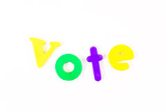 Vote. Spelled Out with Colorful Letters Stock Photography