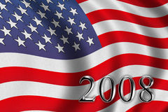 Vote 2008. American flag waving in the wind Royalty Free Stock Photo