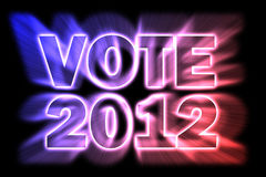 Vote 2012. Illustration of a bursting 2012 election phrase with stars in the left corner for the US presidential elections Royalty Free Stock Photo