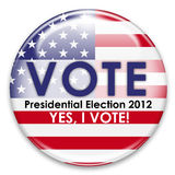 Vote 2012. Presidential election 2012, yes i vote button isolated on white Royalty Free Stock Image