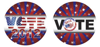 Vote 2012 Presidential Election Buttons. With Stars and Stripes Sunburst Illustration stock illustration