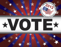 Vote 2012 Red White and Blue Stars Sun Rays. Vote Presidential Election 2012 Red White and Blue Stars Stripes Sun Rays Banner Illustration Stock Photos