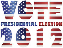 Vote 2012 USA Presidential Election Illustration. Vote 2012 Presidential Election with American USA Flag Silhouette Illustration Stock Photo