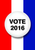 Vote 2016. Button on ed white and blue background stock images