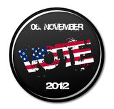 VOTE. American election vote button for 2012 Stock Photo