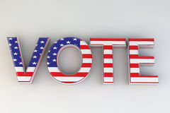 Vote. A 3D rendering of the word vote.  The US flag covers the word and is set against a white background Stock Images
