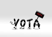 Vote. Illustration of legs forming letters with the word vote Stock Photos