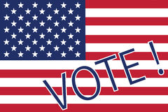 Vote. Vector of Vote! illustration with American flag Stock Image