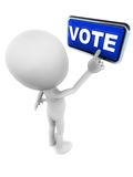 Vote. Little funny 3d man pressing the vote button in blue, white background vector illustration