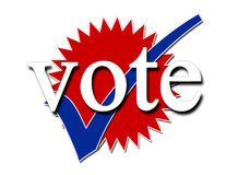 Vote. Red white and blue vote and tick symbols for elections Stock Photo