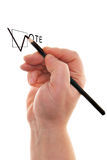 Vote. Check-box with pencil in hand isolated over white background Royalty Free Stock Photo