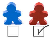 Vote. Red and blue people representing democratic and republican parties.  Includes clipping path Stock Photos