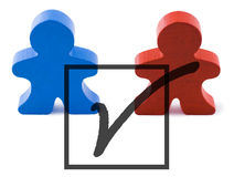 Vote. Red and blue people representing democratic and republican parties.  Includes clipping path Stock Photo