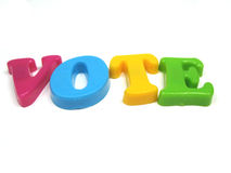 Vote !. The word vote spelled out stock images