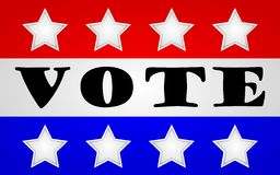 Vote. Word 'vote' on a red white and blue flag with stars Royalty Free Stock Photo