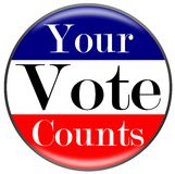 Vote. Your Vote Counts button in red white and blue stripes stock illustration