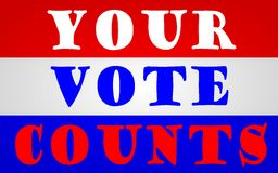 Vote. Your Vote Counts flag in red white and blue stripes stock illustration