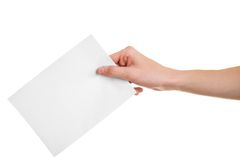 Vote!. Hand with ballot on white background Stock Photo