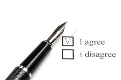 Vote for agree. Focus is set on the I agree check box Stock Photos