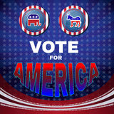 Vote for America Elephant versus Donkey Banner Royalty Free Stock Photography