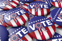 Vote american presidential elections badges. Badges encouraging to vote in american presidential election. 3d render, 3d illustration Stock Images