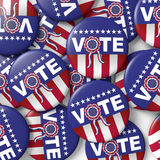 Vote american presidential elections button. Buttons encouraging vote for american presidential election. 3d render, 3d illustration Royalty Free Stock Photo
