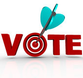 Vote Arrow in Word 3D Targeting Voters Election Stock Photos