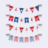 Vote as estamenhas de Canadá e os ícones da decoração das festões da eleição ajustados Fotos de Stock