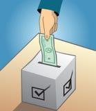 Vote avec l'argent et l'illustration de corruption politique Image libre de droits