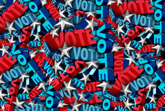 Vote Background. And election symbol for an American government campaign to decide the choice in a candidate for president or senator or congress as a ballot Stock Photo