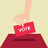 Vote ballot with box. Vector illustration, flat design Royalty Free Stock Image