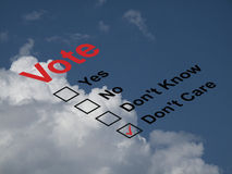 Vote ballot paper. Ballot paper with the don't care box ticked against a cloudy blue sky Royalty Free Stock Photography