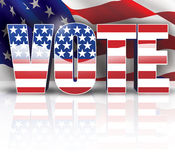 Vote Banner. Digital illustration of Vote Text with stars and stripes royalty free illustration