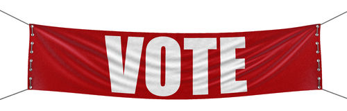 Vote Banner (clipping path included) Stock Photography