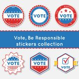 Vote, Be Responsible stickers collection. Buttons set for USA presidential elections 2016. Collection of blue and red patriotic badges. Round tokens vector Vector Illustration