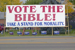 Vote The Bible election 2004 campaign sign. In a rural southern Ohio neighborhood Stock Images