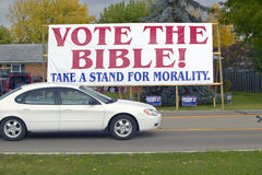 Vote The Bible election 2004 campaign sign in a rural southern Ohio neighborhood Stock Photos