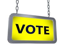 Vote on billboard. Vote on yellow light box billboard on white background Royalty Free Stock Photos