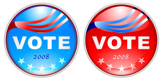 Vote button 2008. Bold Graphic of an election Vote Button 2008 Isolated on white Stock Photography