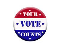 Vote button. Red white and blue vote button with clipping path at original size Royalty Free Stock Photo