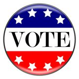 Vote Button. Word 'vote' on a red white and blue flag with stars Stock Photos