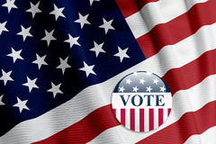 'Vote' Button on American Flag Royalty Free Stock Images
