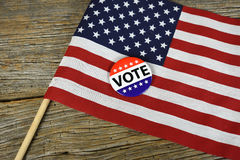 Vote button on American flag Stock Photography