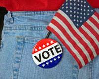Vote Button And Flag In Pocket Royalty Free Stock Image